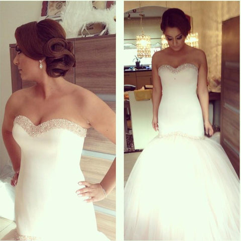 Image of Beading Sweetheart Bodice Corset Satin Mermaid Wedding Dresses