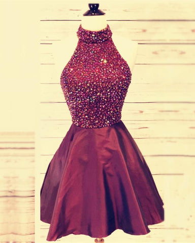 Image of High Neck Open Back Prom Homecoming Dresses Crystal Beaded