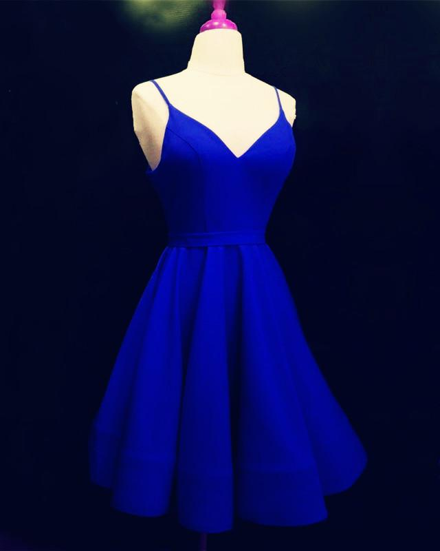 Spaghetti Straps V-neck Satin Homecoming Dresses Ball Gown Party Dress