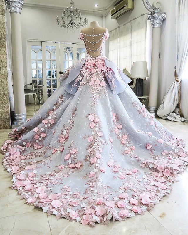 Pink Floral Flowers Beaded Lace Ball Gowns