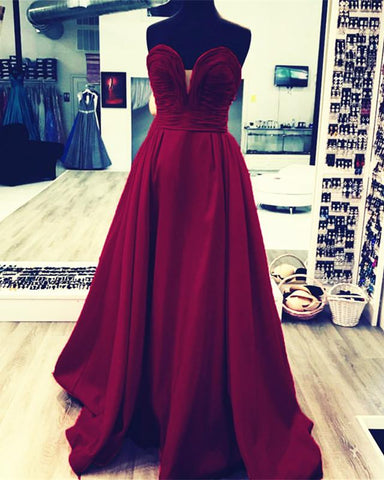 Image of Ruched Sweetheart Long Taffeta Floor Length Evening Dresses