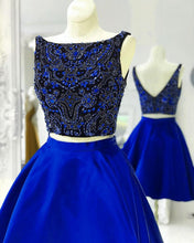 Afbeelding in Gallery-weergave laden, Royal-Blue-Homecoming-Dresses-Two-Piece-Prom-Gowns