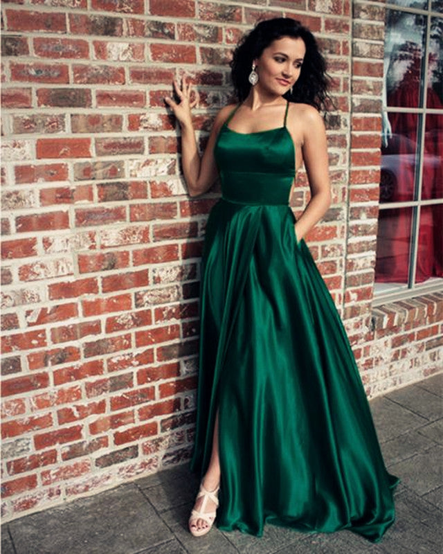 Greek Prom Dresses Uk Pictures Fashion Gallery: Long Green Satin Open Back Prom Dresses Leg Slit Evening