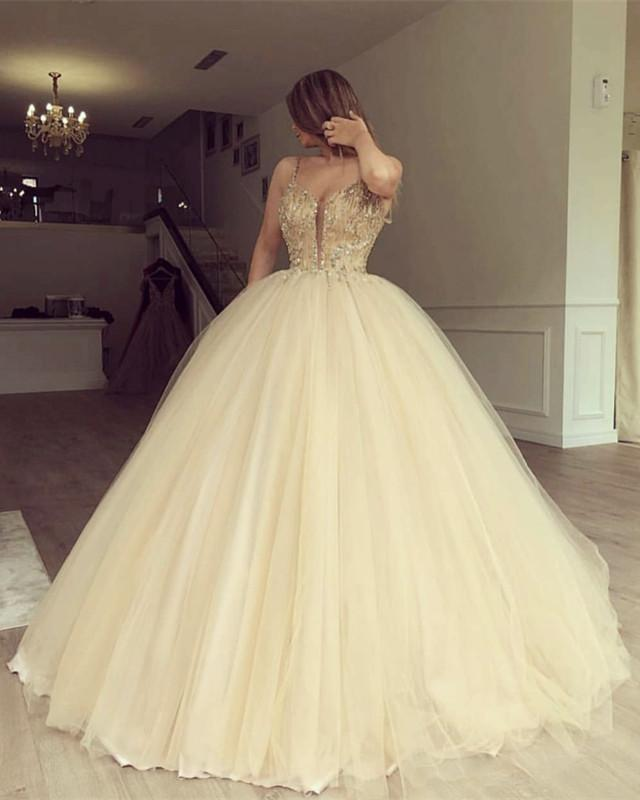 Luxurious Beaded Sweetheart Tulle Ball Gowns Prom Dresses
