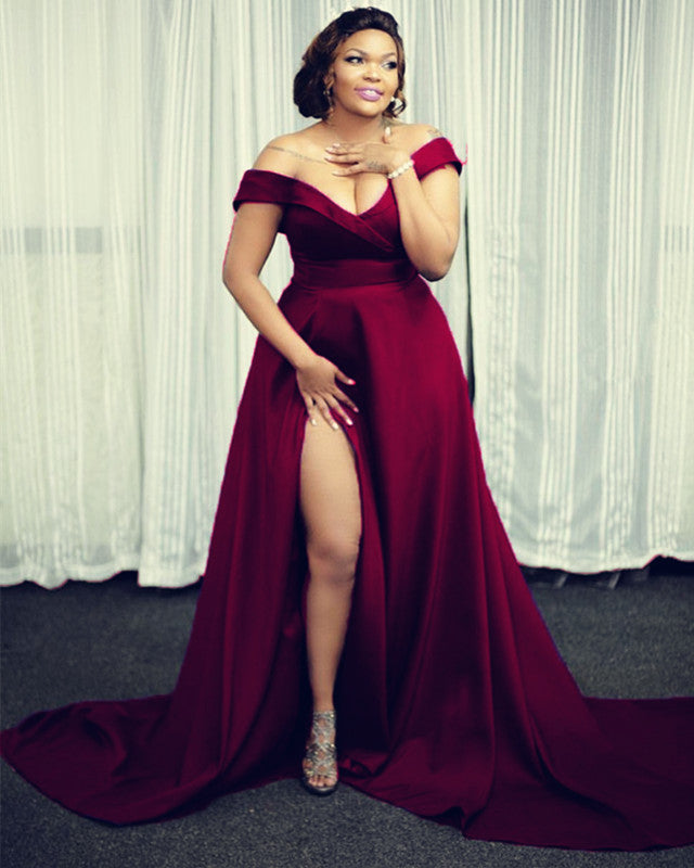 Long Satin Plus Size Prom Dresses Off Shoulder Evening Gown