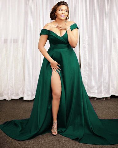 Image of Emerald Green Prom Dresses Plus Size