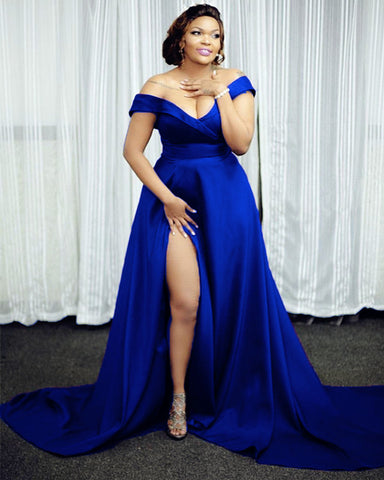 Image of Royal Blue Prom Dresses Plus Size