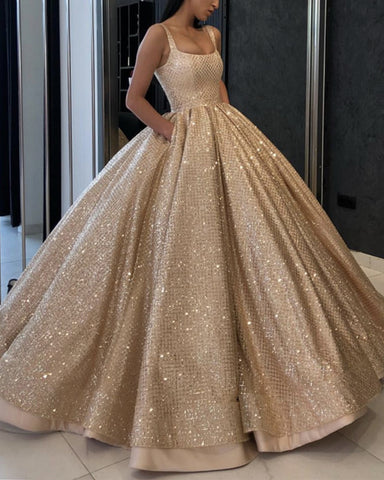 Image of Luxury-Wedding-Dresses-Satin-Ballgowns-Gold-Sequins-Beaded