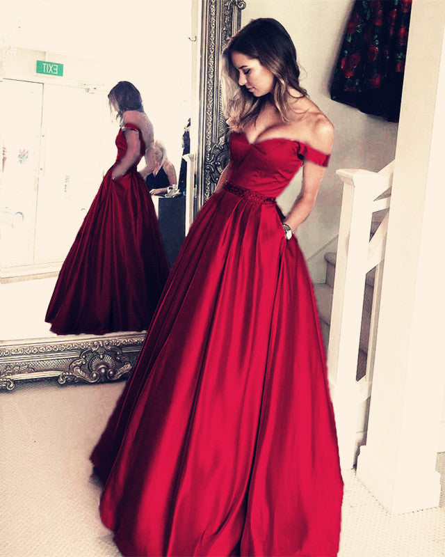 8f300cc25b0 Double tap to zoom · Dust-Pink-Prom-Dress. Double tap to zoom · Burgundy  Satin V-neck Long Prom Dresses Off Shoulder Evening ...