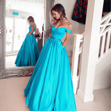 Afbeelding in Gallery-weergave laden, Turquoise Blue Satin Long Evening Prom Dresses Ball Gowns 2017