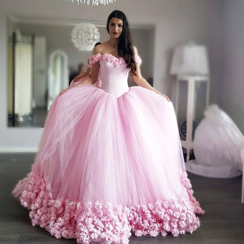 Pretty Blush Pink Tulle Flower Ball Gowns Quinceanera Dress For Sweet 16