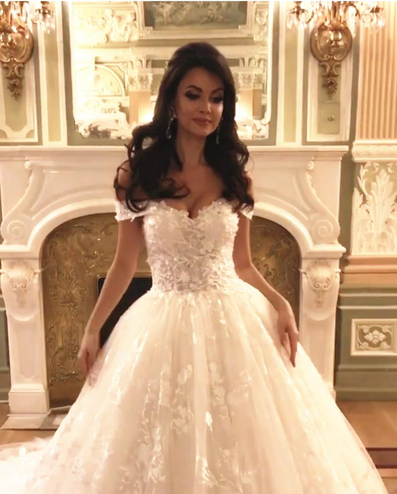 4ac574087 ... Off Shoulder Royal Train Lace Wedding Dresses 2017. Double tap to zoom