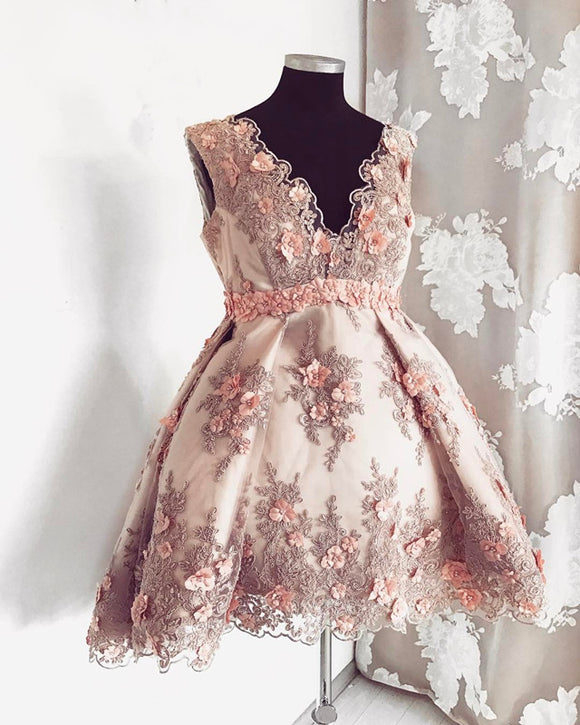 Short V-neck Handmade Flowers And Lace Embroidery Homecoming Dresses