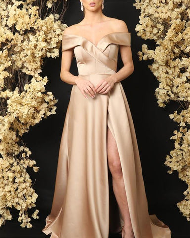 Image of Sexy Off The Shoulder Long Satin V-neck Bridesmaid Dresses Leg Split