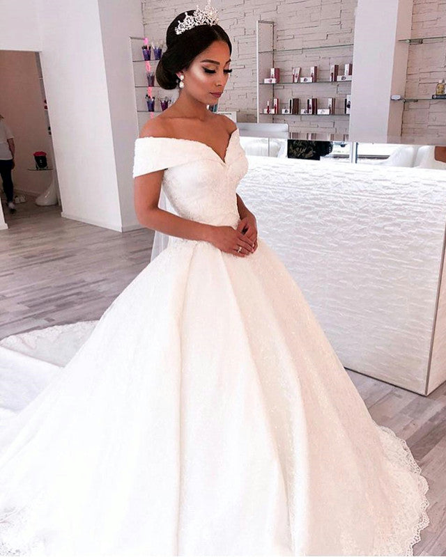 ef009482b5f Gorgeous Lace Ball Gowns Wedding Dresses Off The Shoulder. Double tap to  zoom