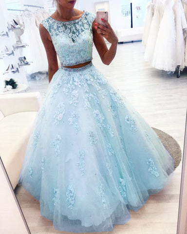 Image of New Elegant Lace Appliques Ball Gowns Quinceanera Dresses Two Piece