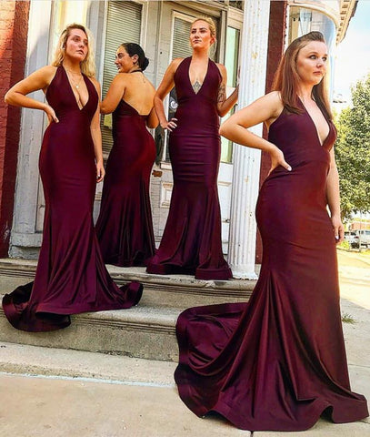Image of Long Satin Halter Mermaid Bridesmaid Dresses Open Back