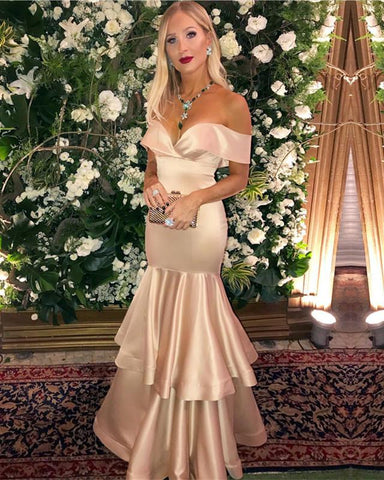 Image of Champagne-Prom-Dresses-Mermaid-Evening-Gowns-Off-The-Shoulder