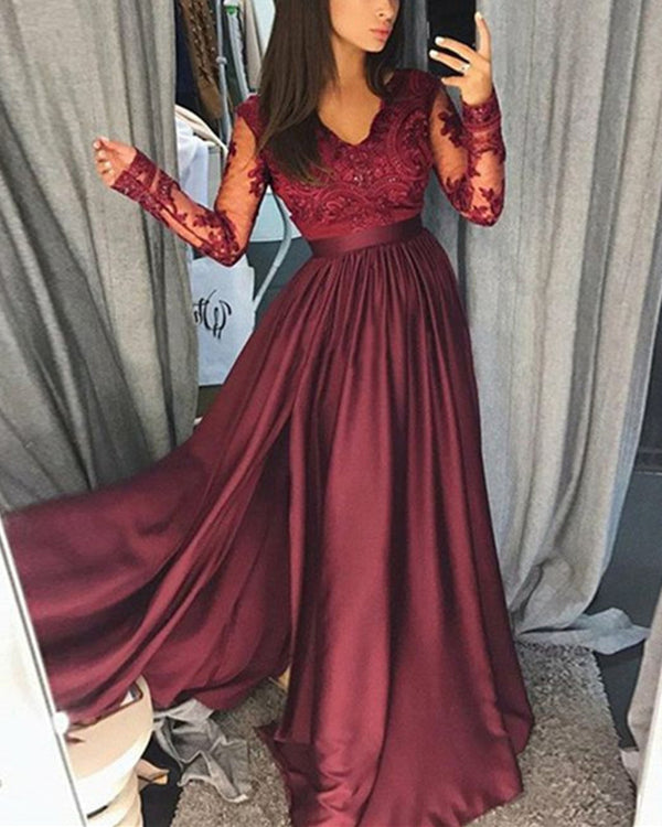 Lace Long Sleeves V-neck Chiffon Split Evening Gowns