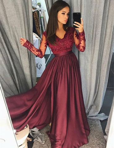 Image of Lace Long Sleeves V-neck Chiffon Split Evening Gowns