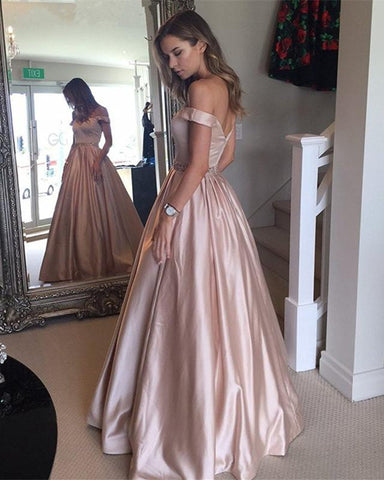 Image of Princess-Style-A-line-Floor-Length-Prom-Gowns-2019