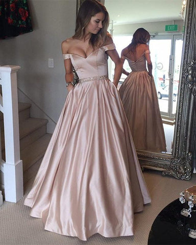 Image of Nude-Pink-Prom-Dresses-2019-Long-Satin-Evening-Gowns-Off-The-Shoulder