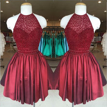 Afbeelding in Gallery-weergave laden, Chic Beaded Halter Short Satin Prom Homecoming Dresses 2017