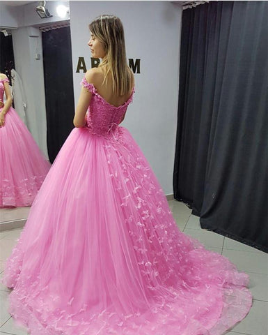 Image of Off Shoulder Tulle Ball Gown Quinceanera Dresses Lace Appliques