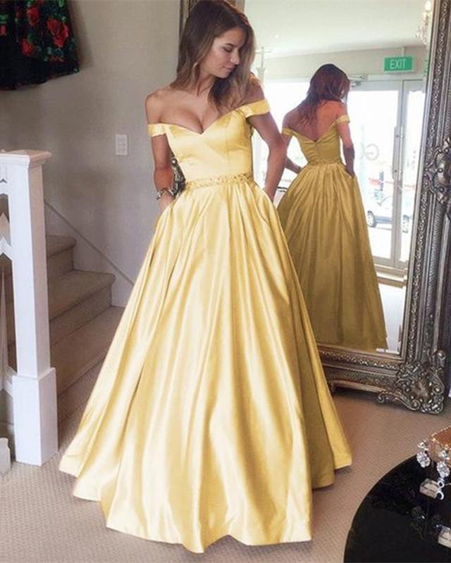Overnight Shipping Long Yellow Prom Dresses 2019