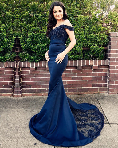 Image of Navy-Blue-Bridesmaid-Dress