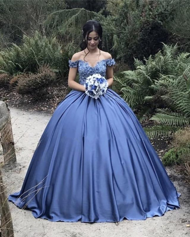 Ball Gowns Lace Embroidery Satin Off Shoulder Wedding Dresses