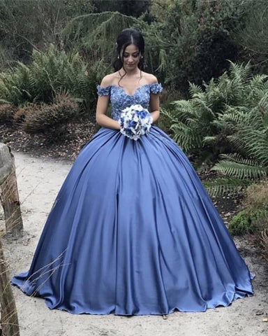Image of Ball Gowns Lace Embroidery Satin Off Shoulder Wedding Dresses