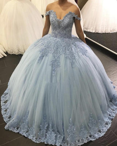 Image of Lace Embroidery Tulle Ball Gowns Wedding Off Shoulder Dresses