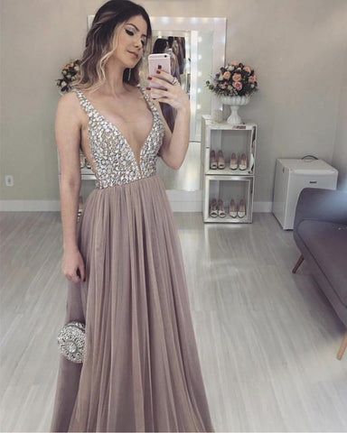 Image of Long Tulle V-neck Prom Evening Dresses Crystal Beaded