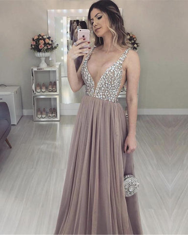 Image of Nude-Tulle-Prom-Dresses-Floor-Length-Evening-Dress-Crystal-Beaded