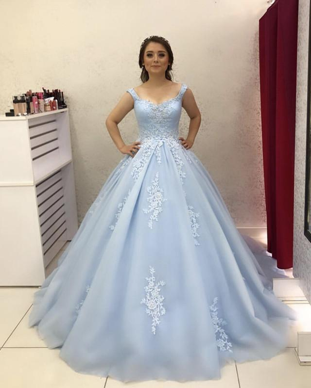 d33862197c4 Light-Blue-Tulle-Quinceanera-Dresses-Ball-Gowns-2019. Double tap to zoom