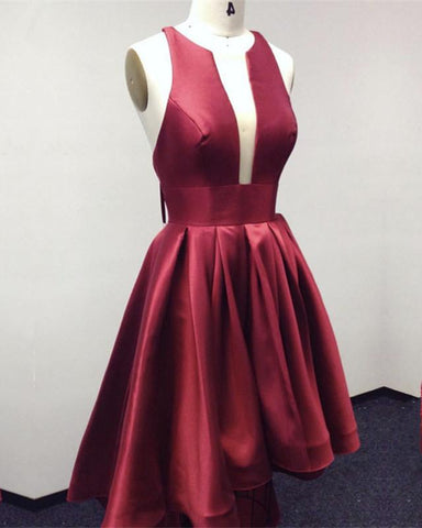 Image of Halter Satin Prom Dresses Front Short Long In Back
