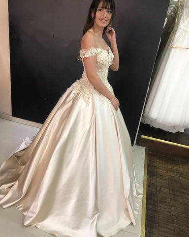 Image of V-neck Off The Shoulder Satin Ball Gowns Quinceanera Dresses