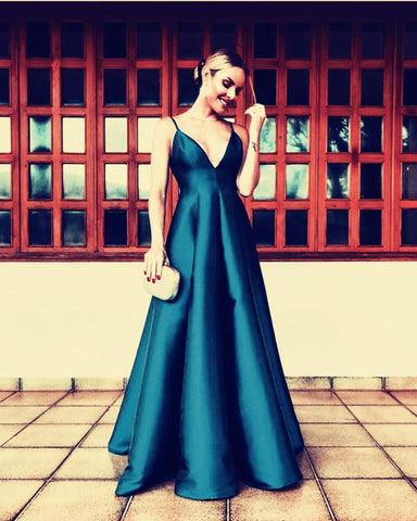 Image of Navy-Blue-Evening-Gowns-Satin-Bridesmaid-Dresses