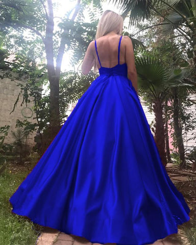Image of Deep V-neck Long Satin Royal Blue Evening Dresses