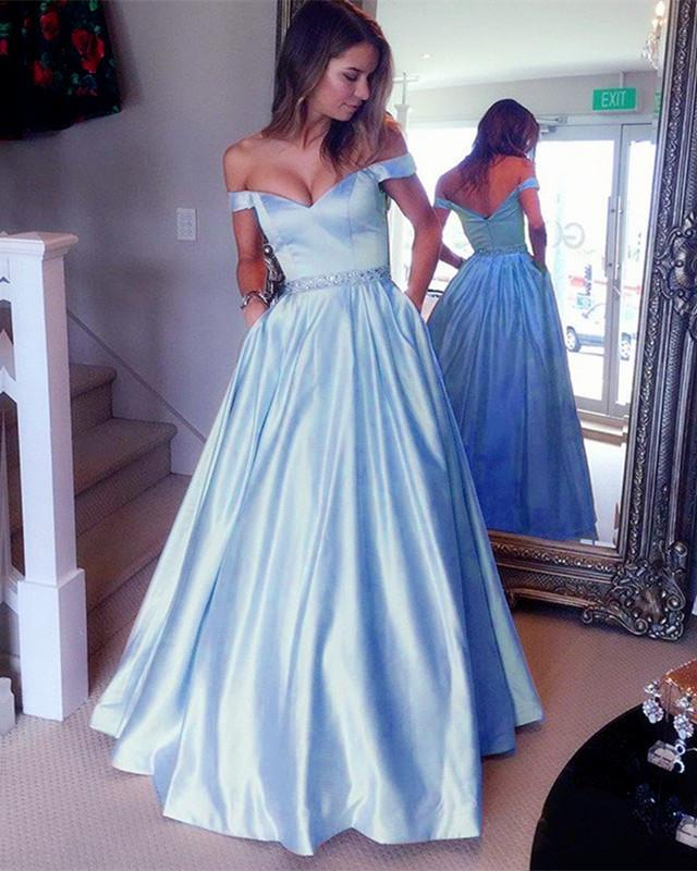Sexy Off Shoulder Beaded Sashes Satin Prom Dresses Ball Gowns