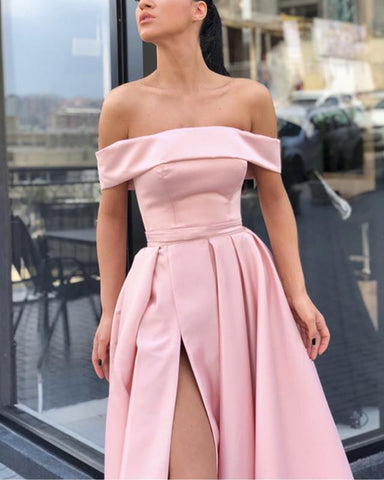 Image of Off Shoulder Evening Gowns Satin Leg Split Prom Long Dresses