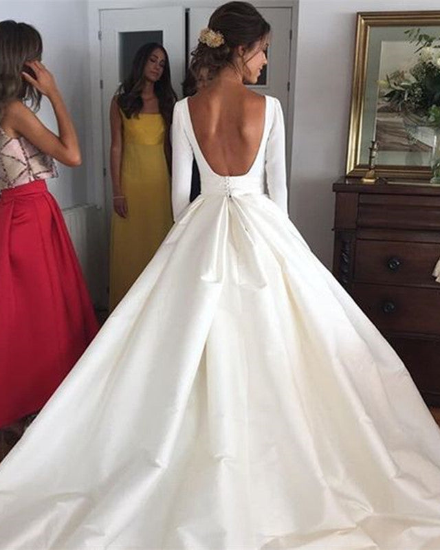 2019-Wedding-Dresses-Satin-Ball-Gowns-Long-Sleeves-Bride-Dress