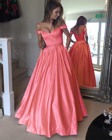 Image of Long-Satin-Coral-Prom-Dresses-Ball-Gowns