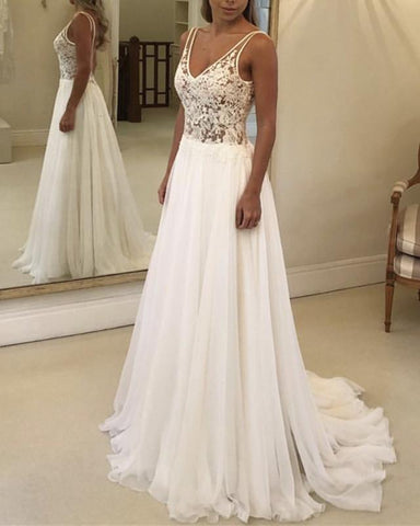 Image of Boho Lace Bodice Chiffon V-neck Wedding Beach Dresses