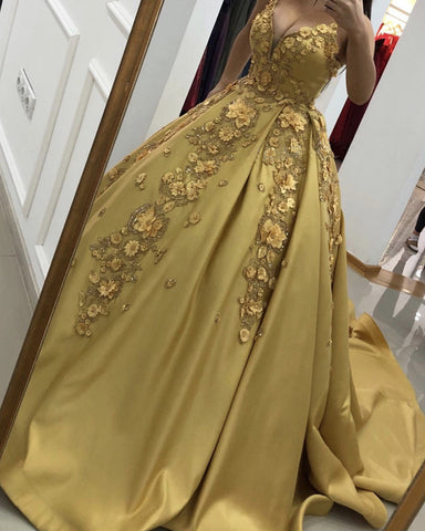 Image of Gold Satin Ball Gowns Quinceanera Dresses With Lace Flowers Beaded
