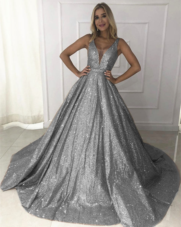 Sparkle Sequin V-neck Ball Gowns Prom Quinceanera Dress