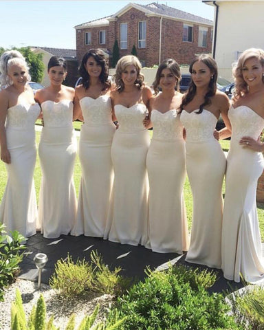 Image of Elegant Lace Appliques Sweetheart Mermaid Bridesmaid Dresses