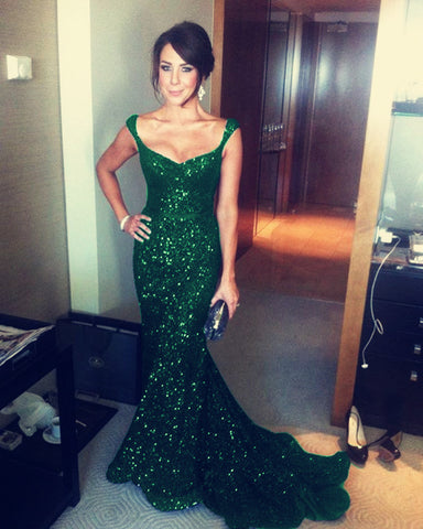 Image of Emerald-Green-Sequin-Gowns