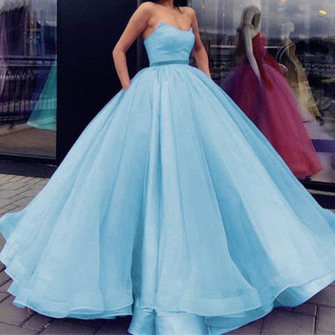 Image of Baby-Blue-Quinceanera-Dresses-Organza-Wedding-Ball-Gowns-Dress
